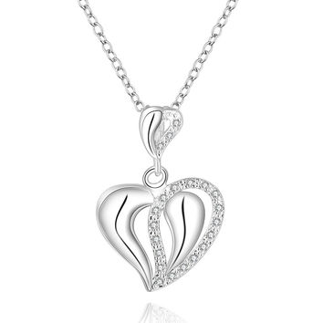 Open Heart Shinning Silver Necklace