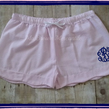 SALE - Monogrammed Plus Size Seersucker Shorts - Scallopped Hem Shorts - Pink Seersucker Lounge Shorts - XL