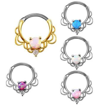 CREYONRZ 1PC Lacey Opal Gem Septum Ring Rook Clicker Nose Ring Titanium Shaft 16G Hanger Body Piercing Jewelry