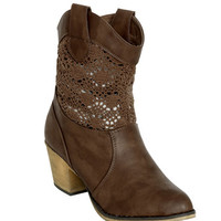Crochet Leatherette Cowboy Boot | Shop Shoes at Wet Seal