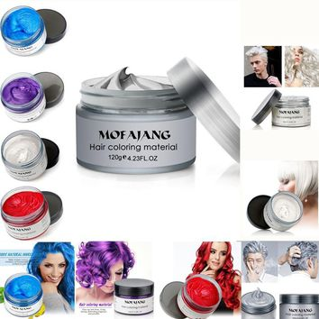 Universal 120ml Modeling Dyeing Hair Wax Solid Mud Easy Color Long-lasting Disposable Dyeing Wax Hair Styling Coloring Tool
