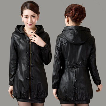 L-5XL Plus Size Leather Coat Women Leather Clothing Faux Sheepskin Autumn Jackets And Coats For Women Leather Jacket Coat A1512