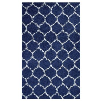 Solvea Moroccan Trellis 8x10 Shag Area Rug Navy and Ivory R-1143A-810