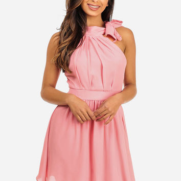 PINK FLARED DRESS WITH NECK TIE HALTER