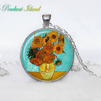 SUNFLOWERS  PENDANT  Van Gogh Sunflowers Necklace for him  Art Gifts for Her yellow orange red green picture