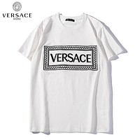 Versace Summer New Fashion Embroidery Letter  Women Men Top T-Shirt  White