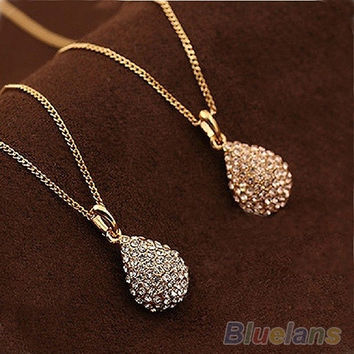 Lady's Gold plated silver plated Crystal Teardrop Necklace Shiny Pendant, cute , choker , short necklace , women's fashion, cute jewelry = 1651434436
