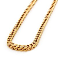 8mm Men Cuban Miami Link Chain Set 18k Gold Plated Stainless Steel Franco Chain