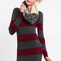 WIDE STRIPES SWEATER DRESS