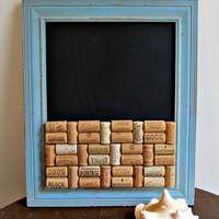 Rustic Blue Framed Chalk Board / Wine Cork Bulletin Message Board - Kitchen, Home, Office, Dorm Room, Organizer