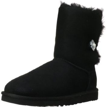UGG Womens Bailey Button Bling Boot Black Size 6