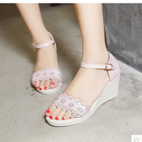 Women new fashion spring Summer casual open toe cutout 6.5cm wedges heels sandals sweet women's low buckle shoes