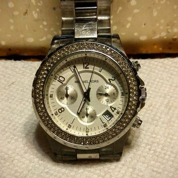 LMFONX Michael Kors Women's MK5397 Glitz Chronograph Clear and Silver Watch
