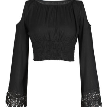 Black Cold Shoulder Flared Sleeve Lace Trim Crop Top