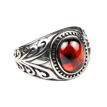 Real 925 Sterling Silver Jewelry Vintage Rings For Men Engraved Flowers With Black Onxy Red