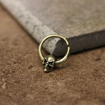 Skull Brass Ring For Pierced Nose, Septum, Earring, Cartridge Ring, Tragus Ring Nipple ring, Daith Bendable, 16G