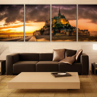 Mont St. Michel Church Canvas Print 4 Panels Print Art Wall Deco Fine Art Photography Repro Print for Home and Office Wall Decoration