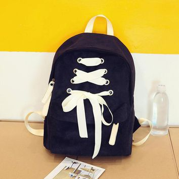 School Backpack trendy 2018 Cute Backpack Schoolbag For teenager Girls Lace-up bow School Bags For Kids Children laptop Schoolbag Backpack for female AT_54_4