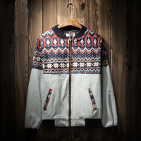 Men's Ethnic Aztec Geometric Lightweight Jackets with Hood