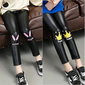 Girls Faux Leather Trousers Leggings 22