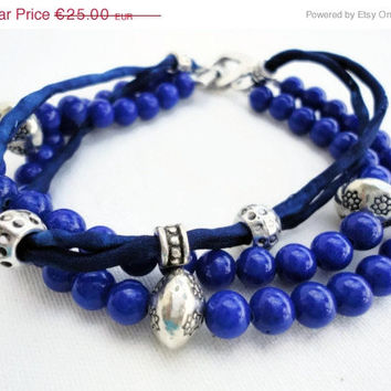 CIJ ChristmasInJuly SALE Bracelet for woman, limited edition, blue jade, sterling silver plated, cords silk,