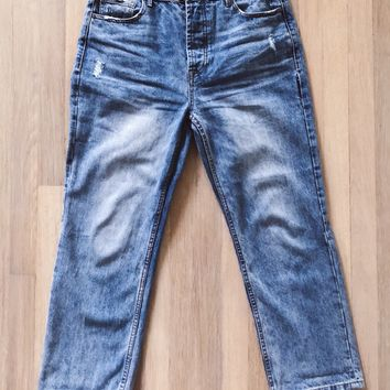 Paisley Distressed Straight Leg Denim