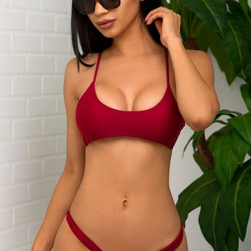 Key West Beach Two Piece Swimsuit - Burgundy