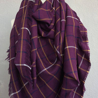 Blanket Plaid Scarf, Boho Festival Scarf, Purple Wedding Shawl, Oversize Shawl, Tartan Scarf, Plaid Scarf For Her, Square Scarf