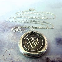 Wax Seal Monogram Initial Necklace. Fine Silver Any Letter. Wax Seal Stamped Jewelry