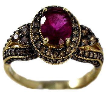 Estate 14K Gold Ring with Rubellite and Diamonds