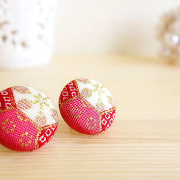 Kimono earrings, Kimono pattern printed cotton covered button stud earrings - SHINJU - Hot pink red