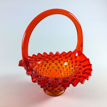 Vintage Fenton Hobnail Orange Glass Basket With Ruffled Rim