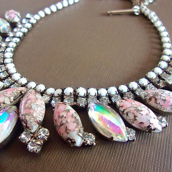HOBE' Pink Art Glass Iridescent Necklace, Milk Glass Beads, Vintage