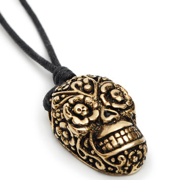 Sugar Skull Handmade Brass Necklace Pendant Jewelry