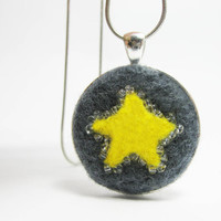 Needle Felted Pendant and Chain - Silver Finish, Grey Needle Felted Wool with Yellow Star and Clear Glass Beads, Jewelry Gifts under 20
