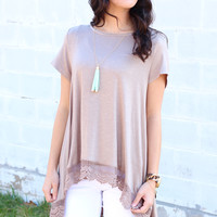 Sunny Days Lace Hi-Lo Top {Taupe}