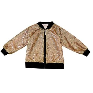 Baby Boys Girls Sequins Jacket Windproof Warm Coats Children Fashion Cool Long Sleeve Outerwear Kids Clothes