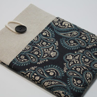 Mac Book Air 13 inch Sleeve Paisley Mac book Pro Case Mac book Foam Padded Handmade Cover- Paisley Blue