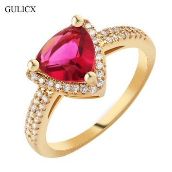 GULICX 2017 Fashion Geometric Finger Band Gold-color Ring for Women Vintage Crystal Yellow CZ Promise Wedding Jewelry R367