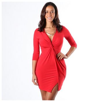 Tie The Knot Bodycon Dress Red