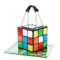 Stylish Women's Tote Bag With Color Block and Chains Design