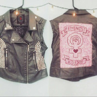Feminist Killjoy: Grey Punk Vest with Studs & Hand-Painted Back Patch; Vegan Leather (size L)