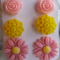 Set of 3 Pastel Pink Daisy Rose Yellow Dahlia Earring Studs
