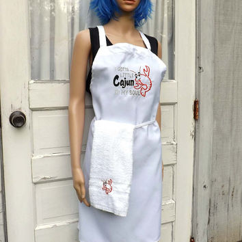 I gotta little Cajun in my Soul Seafood cooking Apron and hand towel set - Embroidered and Personalized Apron
