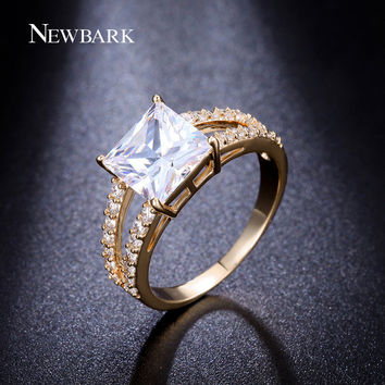 7 NEWBARK 18k White And Gold Plated 3 Carat Princess Cut Cubic Zircon Engagement Ring With CZ Diamond Studded Pave Set Split Band