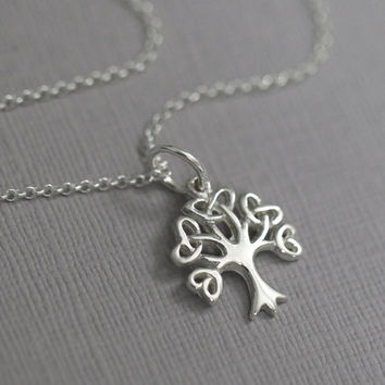 Tree of Life Necklace, Sterling Silver Tree of Life with Optional Initial Charm