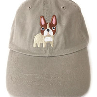 Baseball cap with embroidered French Bulldog