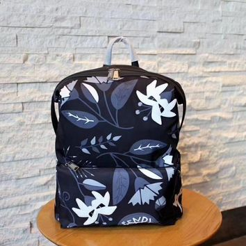 Little monster waterproof backpack black nylon and leather backpack.