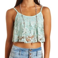 Cross Dye Lace Swing Crop Top by Charlotte Russe - Blue Tint