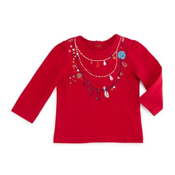 Long-Sleeve Necklace-Print Jersey Tee, Fuchsia, Size 6M-2,